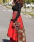 skirt-rose red